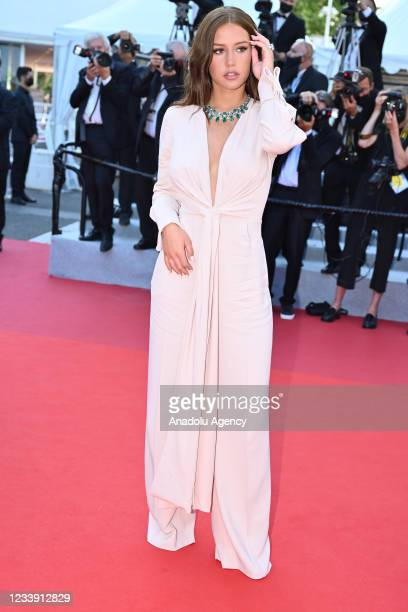 """French actress Adele Exarchopoulos arrives for the screening of the film """"De Son Vivant"""" at the 74th Cannes Film Festival in Cannes, France on July..."""