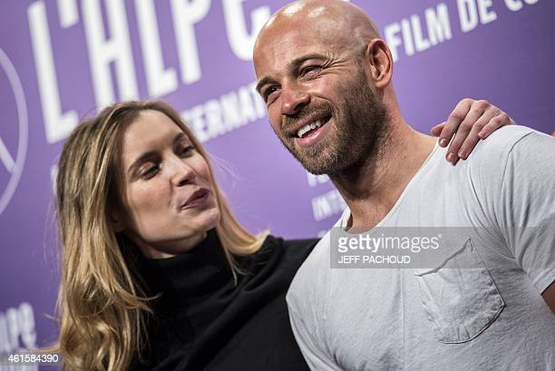 French actress Adrianna Gradziel and French actor Franck Gastambide pose during a photocall at the 18th international comedy film festival of L'Alpe...