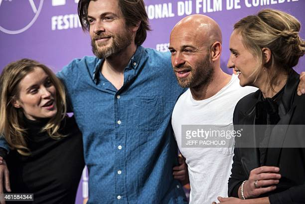 French actress Adrianna Gradziel French actor Pio Marmai French actor Franck Gastambide and French actress and director Noemie Saglio pose during a...