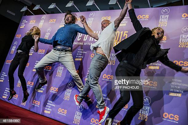 French actress Adrianna Gradziel French actor Pio Marmai French actor Franck Gastambide and French actress and director Noemie Saglio jump as they...