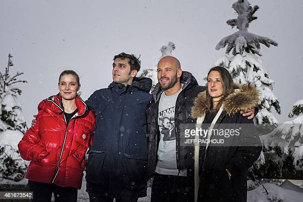 French actress Adrianna Gradziel French actors Pio Marmai and Franck Gastambide and French actress Camille Cottin pose on January 17 2015 during the...
