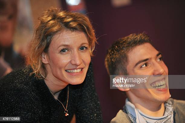 French actress Alexandra Lamy and French actor Fabien Heraud attend the Premiere of De toutes nos forces on February 13 2014 in Rennes AFP PHOTO /...