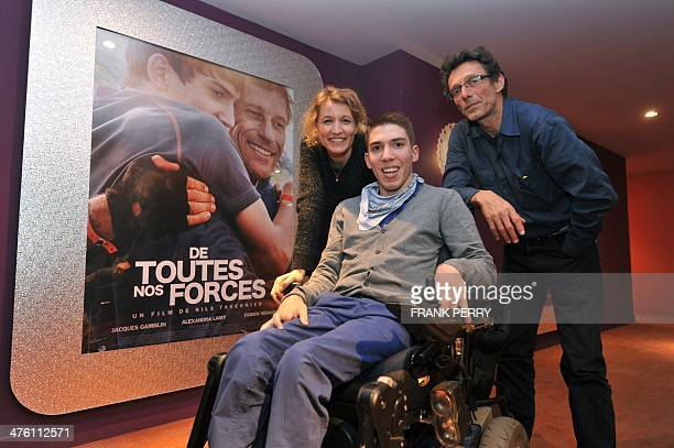 French actress Alexandra Lamy French actor Fabien Heraud and French director Nils Tavernier attend the premiere of De toutes nos forces on February...