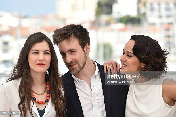 French actress Amandine Truffy, French director Gregoire Leprince-Ringuet and French actress Pauline Caupenne pose on May 17, 2016 during a photocall...