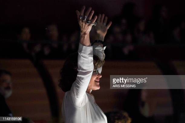 French actress and director Fanny Ardant gestures during a general rehearsal of 'Lady Macbeth of Mtsensk' an opera by Russian composer Dmitri...