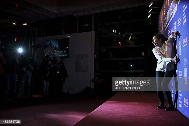 French actress and director Isabelle Vitari poses during a photocall at the 18th international comedy film festival of L'Alpe d'Huez on January 15...