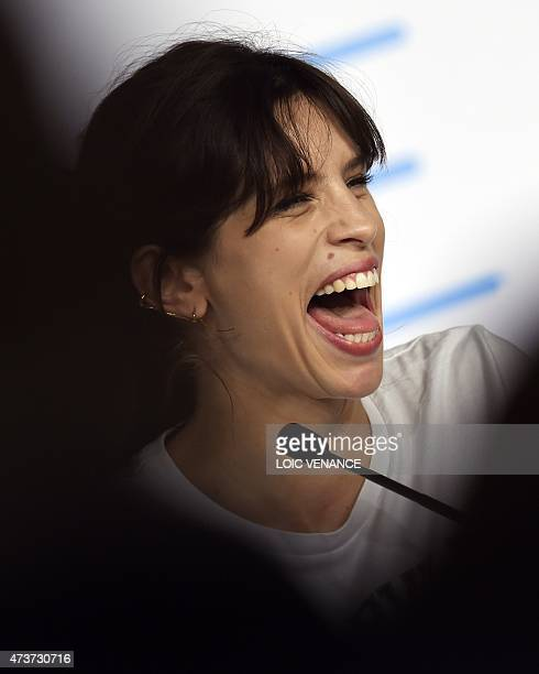 """French actress and director Maiwenn laughs during a press conference for the film """"Mon Roi"""" at the 68th Cannes Film Festival in Cannes, southeastern..."""