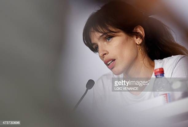 """French actress and director Maiwenn speaks during a press conference for the film """"Mon Roi"""" at the 68th Cannes Film Festival in Cannes, southeastern..."""
