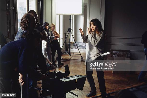 French actress and director Sophie Marceau on the set of her first short movie 'L'aube à l'envers'