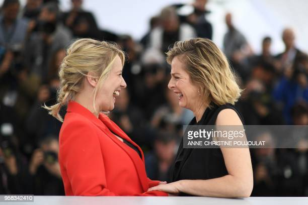 """French actress and film director Andrea Bescond and French actress Karin Viard pose on May 14, 2018 during a photocall for the film """"Little Tickles """"..."""