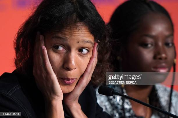 French actress and film director Mati Diop and Senegalese actress Mama Sane attend a press conference for the film Atlantics at the 72nd edition of...