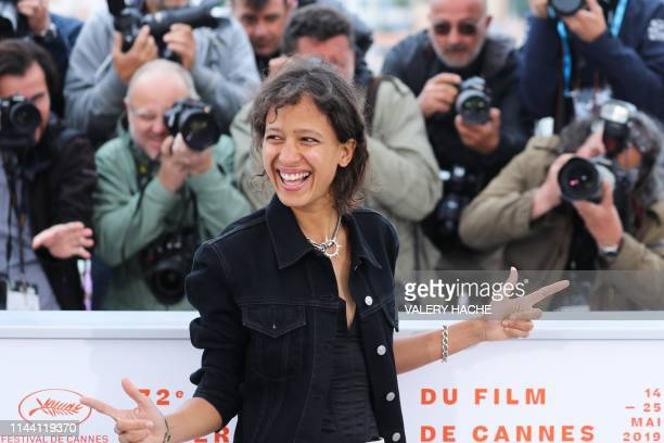 TOPSHOT French actress and film director Mati Diop poses during a photocall for the film Atlantics at the 72nd edition of the Cannes Film Festival in...