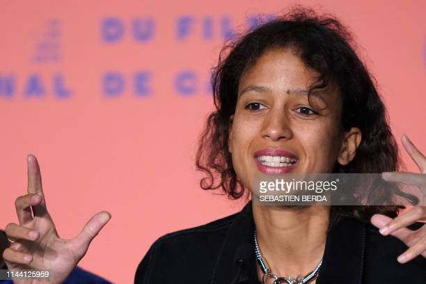 French actress and film director Mati Diop speaks during a press conference for the film Atlantics at the 72nd edition of the Cannes Film Festival in...