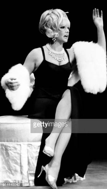 French actress and humorist Sophie Daumier performs a scene of the show 'Tetebeche' written by Guy Bedos and JeanLoup Dabadie and directed by Dirk...