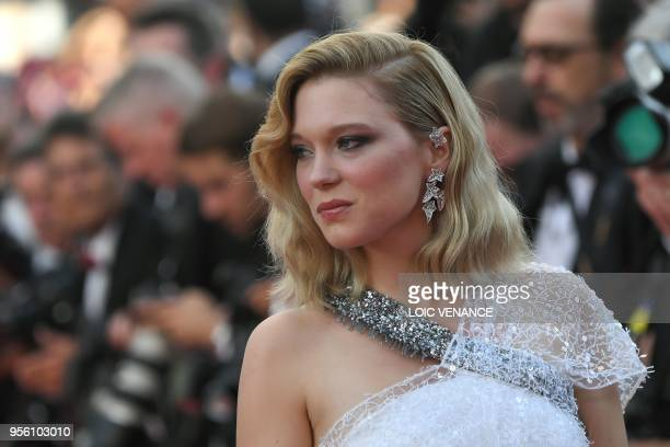 """French actress and member of the Feature Film Jury Lea Seydoux poses as she arrives on May 8, 2018 for the screening of the film """"Todos Lo Saben """"..."""