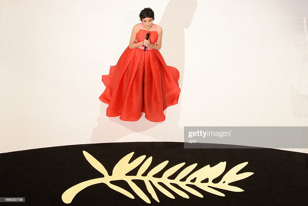 French actress and mistress of ceremonies at the Cannes Film Festival Audrey Tautou speaks on stage on May 26, 2013 during the closing ceremony of the 66th Cannes film festival in Cannes.