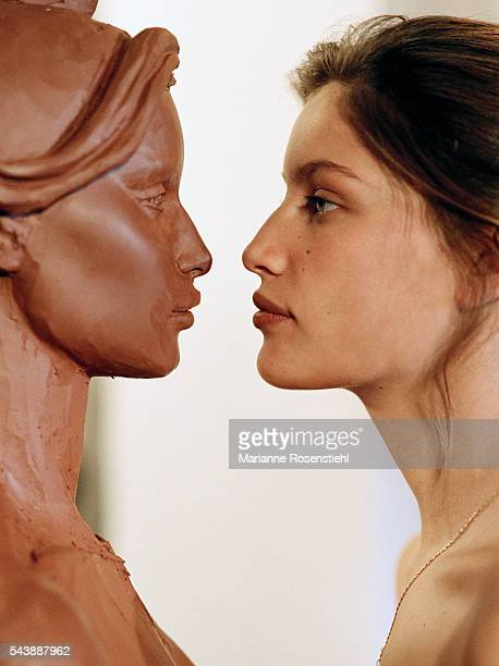 French actress and model Laetitia Casta was chosen as a model for the official bust of Marianne national symbol of the French Republic sculpted by...