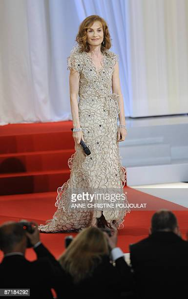 French actress and president of the jury Isabelle Huppert arrives for the opening ceremony of the 62nd Cannes Film Festival on May 13 2009 Cannes...