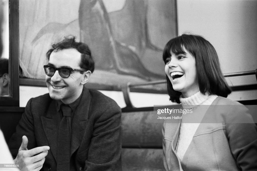 French actress and singer Chantal Goya with French-Swiss director Jean-Luc Godard on the set of Masculin fÌÄå©minin: 15 faits prÌÄå©cis, based on the stories by Guy de Mapassant.