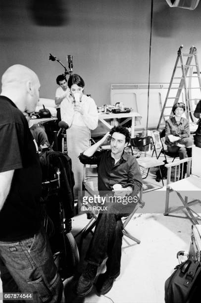 French actress and singer Charlotte Gainsbourg and her husband actor and director Yvan Attal on the set of Attal's film Ma Femme est une Actrice