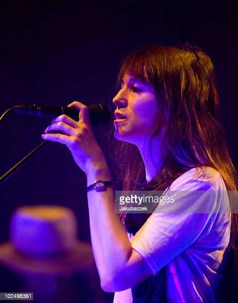 French actress and singer Charlotte Gainsbourg performs live during a concert at the Volksbuehne on June 28 2010 in Berlin Germany The concert is...
