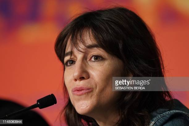 """French actress and singer Charlotte Gainsbourg talks during a press conference for the film """"Lux Aeterna"""" at the 72nd edition of the Cannes Film..."""