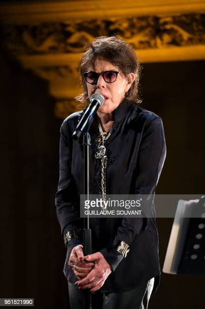 French actress and singer Dani performs on stage during the 42th edition of 'Le Printemps de Bourges' rock and pop music festival in Bourges on April...