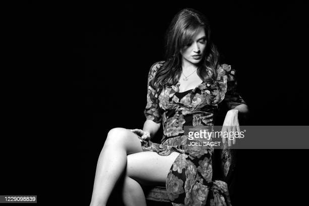 French actress and singer Elsa Esnoult pose during a photo session of the 3rd edition of the Cannes International Series Festival in Cannes, southern...