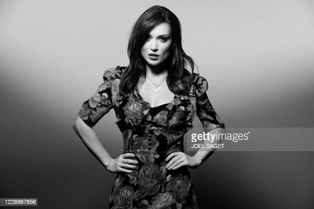 French actress and singer Elsa Esnoult poses for a photo session during the 3rd edition of the Cannes International Series Festival in Cannes,...