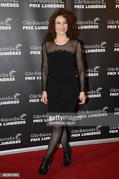 French actress and singer Elsa Lunghini poses as she arrives for the 20th Lumieres awards ceremony on February 2 2015 in Paris International media...