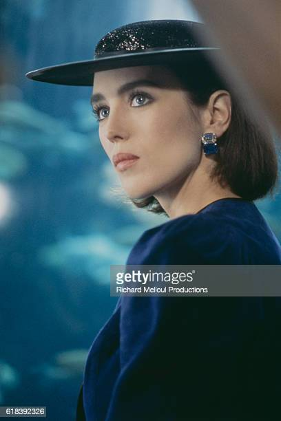 French actress and singer Isabelle Adjani on the set of the music video for the song Pull Marine, written by Serge Gainsbourg. The video is directed...