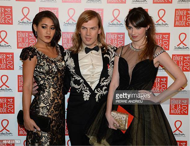 French actress and singer Josephine Jobert fashion designer Christophe Guillarme and actress Sarah Barzyk pose on January 23 2014 at the Pavillon...