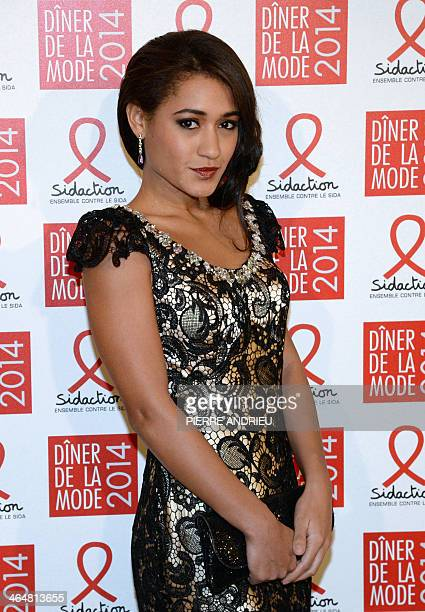 French actress and singer Josephine Jobert poses on January 23 2014 at the Pavillon dArmenonville in Paris before attending the 'fashion dinner...
