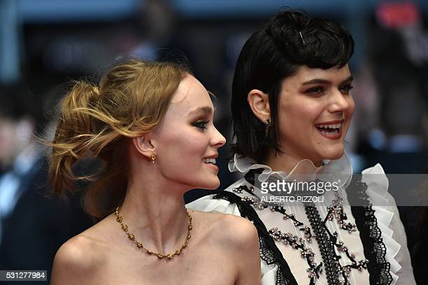 French actress and singer Stephanie Sokolinski aka Soko and FrenchUS actress LilyRose Depp arrive on May 13 2016 for the screening of the film La...