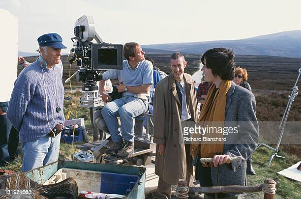 French actress Anne Brochet and Irish actor Barry McGovern on the set of the film 'Driftwood' 1997