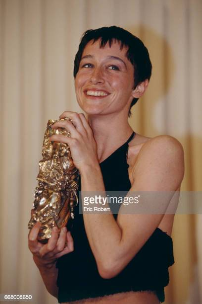 French actress Anne Brochet receives the Best Supporting Actress Award for the movie Tous les matins du monde written and directed by Alain Corneau...