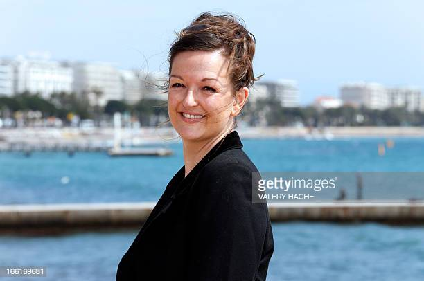 "French actress Anne Girouard poses during the photocall of the ""No Limit"" TV show on April 9, 2013 in Cannes, southeastern France, during the MIPTV,..."