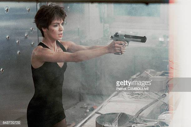 French actress Anne Parillaud on the set of the film La Femme Nikita directed by Luc Besson