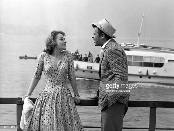 French actress Annie Girardot and Italian actor Renato Salvatori on the set of On the set of Rocco e i suoi fratelli written and directed by Luchino...