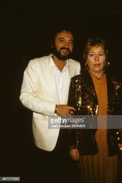 French actress Annie Girardot and partner journalist Bob Decout at Cannes Film Festival on May 8 1985 in Cannes France