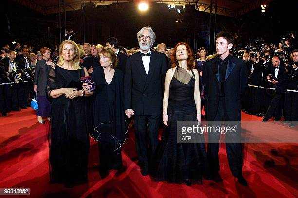French actress Annie Girardot Austrian director Michael Haneke French actress Isabelle Huppert and French actor Benoit Magimel arrive at the Palais...