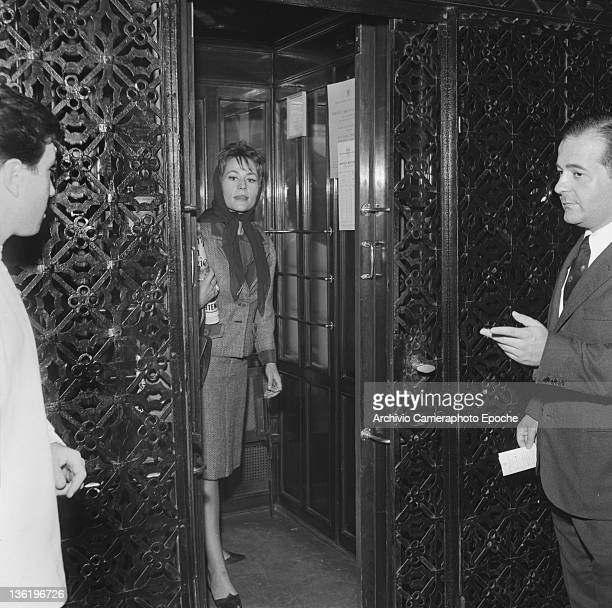 French actress Annie Girardot in an elevator Venice 1962