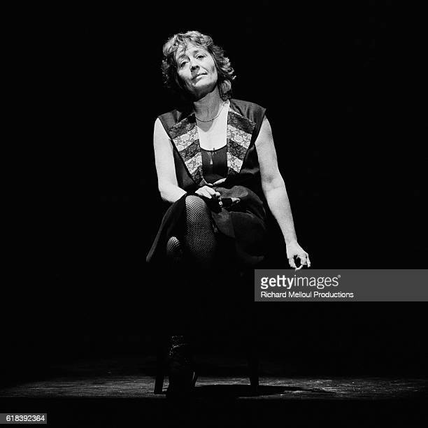 French actress Annie Girardot on stage at Theatre Montparnasse for her show Marguerite et les Autres Une Vie sans Entracte directed by Bob Decout