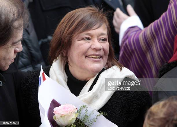 French actress Annie Girardot's daughter Giulia Salvatori leaves the Saint-Roch church after her mother funeral, on March 4, 2011. Girardot who...