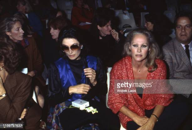 French actress Anouk Aimee and Swiss actress Ursula Andress during the Ungaro fashion show Paris October 1983