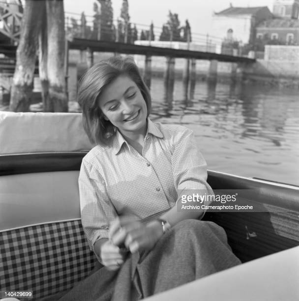 French actress Anouk Aimee portrayed while sitting on a boat Venice 1952