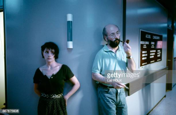French actress Anouk Grinberg with director and screenwriter Bertrand Blier on the set of his movie Merci la Vie
