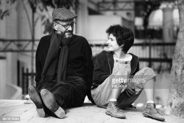 French actress Anouk Grinberg with director and screenwriter Bertrand Blier on the set of his movie Un Deux Trois Soleil