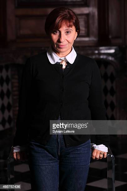 French actress Ariane Ascaride poses before the Premiere of 'Un histoire de fou' on October 22 2015 in Lille France
