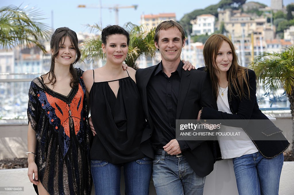 French actress Audrey Bastien, actress Selma El Moussi, French director Fabrice Gobert and French actress Ana Girardot pose during the photocall 'Simon Werner a Disparu' (Lights Out) presented in the Un Certain Regard selection at the 63rd Cannes Film Festival on May 20, 2010 in Cannes.